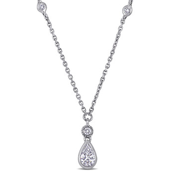 amour 14k white gold 1 3 ct tw diamond by the yard dangle necklace jms007405