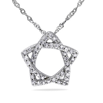 amour 14k white gold 1 5 ct tw diamond star pendant with chain jms007372