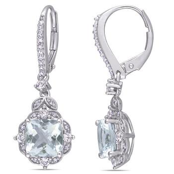 Trang sức Amour Vàng trắng 14K 1/6 CT Kim cương và 2 4/5 CT Aquamarine & White Sapphire Dangle Bông tai (khuyên tai