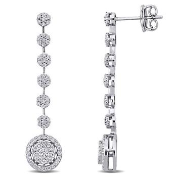 trang sức Amour Vàng trắng 14K 1 CT TDW Kim cương Drop Bông tai (khuyên tai, hoa tai) chính hãng sale giá rẻ tại Hà nội TPHCM