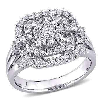 Trang sức Amour Vàng trắng 14K 1 CT TW Kim cương Cluster Halo Nhẫn chính hãng sale giá rẻ Hà nội TPHCM