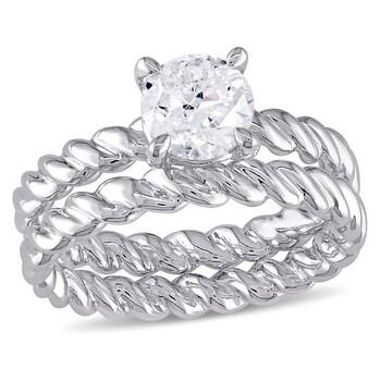 Trang sức Amour Vàng trắng 14K 1 CT TW Kim cương Solitaire Twisted Rope Bridal Set chính hãng sale giá rẻ Hà nội TPHCM