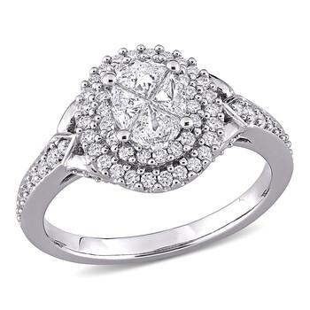 Trang sức Amour Vàng trắng 14K 1 CT TW Round và Pie Cut Kim cương Cluster Nhẫn đính hôn chính hãng sale giá rẻ Hà nội TPHCM