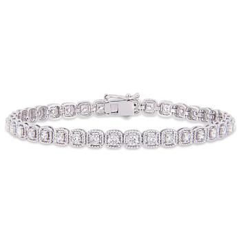 Trang sức Amour Vàng trắng 14K 2 3/4 CT TDW Kim cương Tennis Vòng đeo tay chính hãng sale giá rẻ Hà nội TPHCM