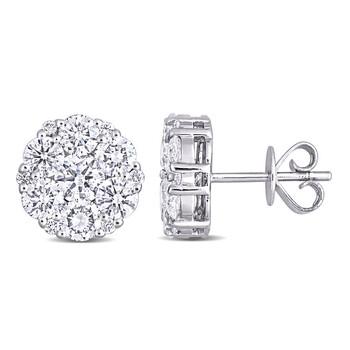 Trang sức Amour Vàng trắng 14K 2 5/8 CT TDW Kim cương Stud Bông tai (khuyên tai