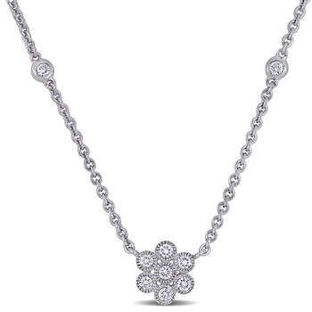 Trang sức Amour Vàng trắng 14K 2/5 CT TW Kim cương Beaded Floral Dây chuyền (vòng cổ) chính hãng sale giá rẻ Hà nội TPHCM
