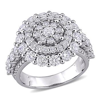 Trang sức Amour Vàng trắng 14K 3 CT TW Kim cương Cluster Nhẫn chính hãng sale giá rẻ Hà nội TPHCM