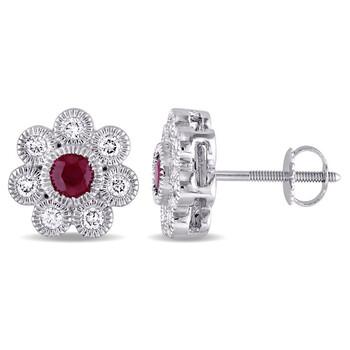 Trang sức Amour Vàng trắng 14K 4/5 CT TW Kim cương và Ruby Flower Stud Bông tai (khuyên tai