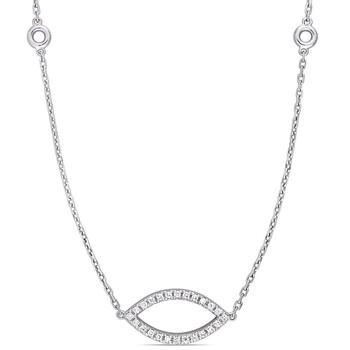 Trang sức Amour Vàng trắng 14K 4/5 CT TW Kim cương Navette Shaped Dây chuyền (vòng cổ) với Chain chính hãng sale giá rẻ Hà nội TPHCM