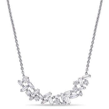 Trang sức Amour Vàng trắng 14K 4/5 CT TW Princess và Parallel Baguette Kim cương Cluster Dây chuyền (vòng cổ) chính hãng sale giảm giá sỉ rẻ nhất ở Hà nội TPHCM