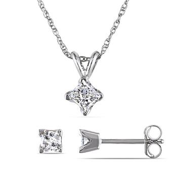 trang sức Amour Vàng trắng 14K 5/8 CT TW Princess Cut Kim cương Solitaire Pendant với Chain và Stud Bông tai (khuyên tai, hoa tai) 2-Piece Set chính hãng sale giá rẻ tại Hà nội TPHCM