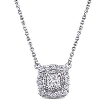 Trang sức Amour Vàng trắng 14K 5/8 CT TW Round & Princess Cut Kim cương Vintage Halo Dây chuyền (vòng cổ) chính hãng sale giá rẻ Hà nội TPHCM