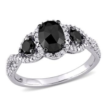 Trang sức Amour Vàng trắng 14K Đen Rhodium mạ 1 1/3 CT TW Đen và Kim cương trắng Nhẫn đính hôn chính hãng sale giá rẻ Hà nội TPHCM