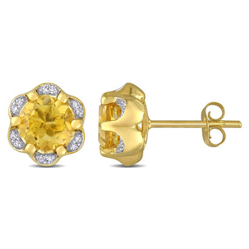 Trang sức Amour Vàng 14K 1 1/2 CT TGW Citrine và 0.07 CT TDW Kim cương Accent Flower Stud Bông tai (khuyên tai