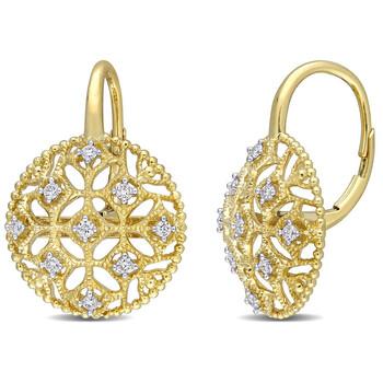 Trang sức Amour Vàng 14K 1/5 CT TDW Kim cương Lace Leverback Bông tai (khuyên tai