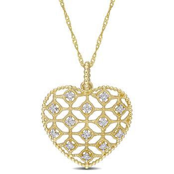 Trang sức Amour Vàng 14K 1/5 CT TW Kim cương Lace Heart Pendant với Chain chính hãng sale giá rẻ Hà nội TPHCM