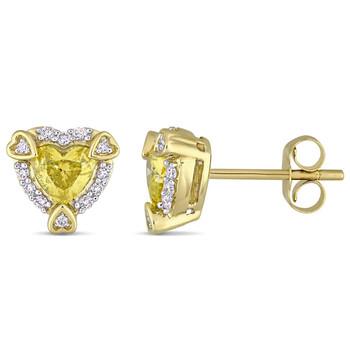 Trang sức Amour Vàng 14K 3/4 CT TDW Yellow Kim cương và Kim cương trắng Halo Stud Bông tai (khuyên tai