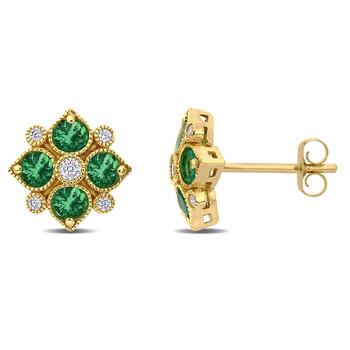 trang sức Amour Vàng 14K 3/4 CT TGW Emerald và 1/8 CT TW Kim cương Floral Stud Bông tai (khuyên tai, hoa tai) chính hãng sale giá rẻ tại Hà nội TPHCM