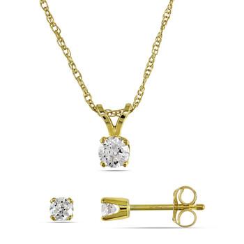 Trang sức Amour Vàng 14K 3/8 CT TDW Kim cương Solitaire Pendant với Chain và Stud Bông tai (khuyên tai