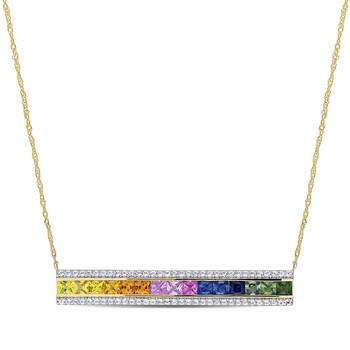 Trang sức Amour Vàng 14K 4 1/10 CT TGW Multi-Color Square và Round Sapphire Bar Dây chuyền (vòng cổ) với Chain chính hãng sale giá rẻ Hà nội TPHCM