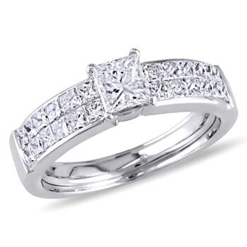 Trang sức Amour Vàng trắng 18K 1 1/4 CT TW Princess Cut Channel Set Kim cương Nhẫn đính hôn chính hãng sale giá rẻ Hà nội TPHCM