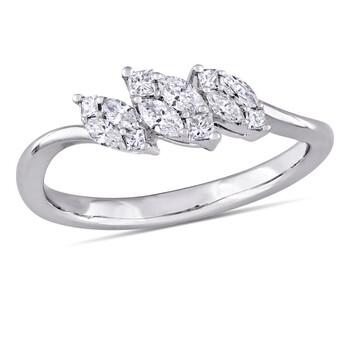 Trang sức Amour Vàng trắng 18K 1/4 CT TDW Kim cương Cluster Nhẫn chính hãng sale giá rẻ Hà nội TPHCM