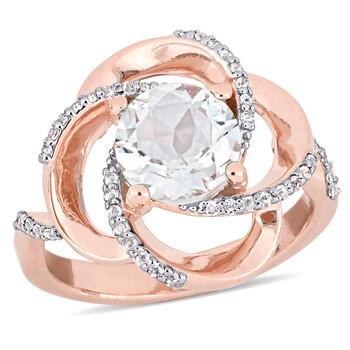 Trang sức Amour 2 3/5 CT TGW White Topaz Nhẫn Pink Silver chính hãng sale giá rẻ Hà nội TPHCM