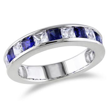 Trang sức Amour 2 3/8 CT TGW Created White Sapphire và Created Blue Sapphire Nhẫn Bạc 925 chính hãng sale giá rẻ Hà nội TPHCM