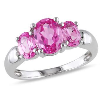 Trang sức Amour 3 1/6 CT TGW Created Pink Sapphire 3 Stone Nhẫn Bạc 925 chính hãng sale giá rẻ Hà nội TPHCM
