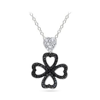 Trang sức Amour 1/2 CT Đen và Kim cương trắng TW Thời trang Pendant với Chain Silver GH I3 Đen Rhodium mạ chính hãng sale giá rẻ Hà nội TPHCM
