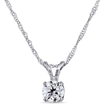 Trang sức Amour 14KW 1/2ct Kim cương Solitaire Pendant w/18 inches Fortzentina Chain