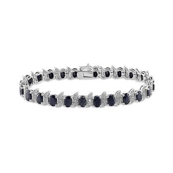 Trang sức Amour 0.03 CT Kim cương TW và 14 7/8 CT TGW Đen Sapphire Vòng đeo tay Silver I3 Length (inches): 7 chính hãng sale giá rẻ Hà nội TPHCM