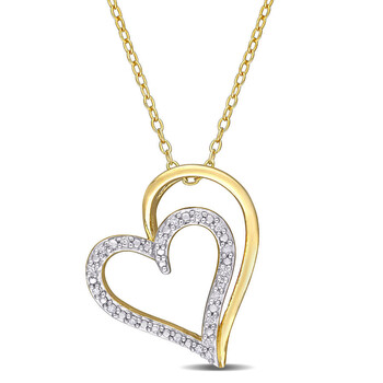 Trang sức Amour 925-SterlingBạc 9251/10 CT TDW Kim cương Double Heart Pendant với Chain chính hãng sale giá rẻ Hà nội TPHCM
