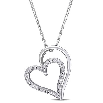 Trang sức Amour 925-Bạc 9251/10 CT TDW Kim cương Double Heart Pendant với Chain chính hãng sale giá rẻ Hà nội TPHCM