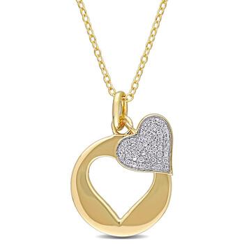 Trang sức Amour 925-Bạc 9251/10 CT TW Kim cương Double Heart Pendant với Chain chính hãng sale giá rẻ Hà nội TPHCM