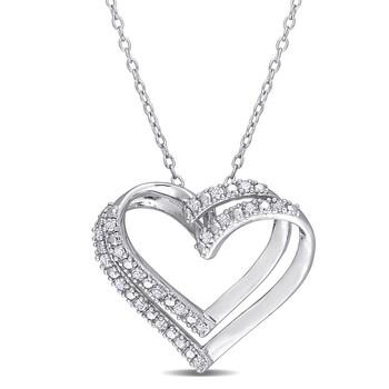Trang sức Amour 925-Bạc 9251/5 CT TW Kim cương Heart Pendant với Chain chính hãng sale giá rẻ Hà nội TPHCM