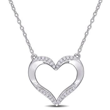 Trang sức Amour 925-Bạc 9251/7 CT TDW Kim cương Open Heart Pendant với Chain chính hãng sale giá rẻ Hà nội TPHCM