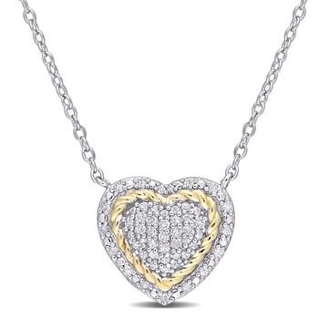 Trang sức Amour 925-SterlingTwo-Tone1/4 CT TW Kim cương Rope Design Heart Pendant với Chain chính hãng sale giá rẻ Hà nội TPHCM