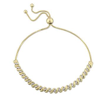 Trang sức Amour 1/4 CT TW Kim cương Bolo Vòng đeo tay Yellow mạ Bạc 925 JMS004147 chính hãng sale giá rẻ Hà nội TPHCM