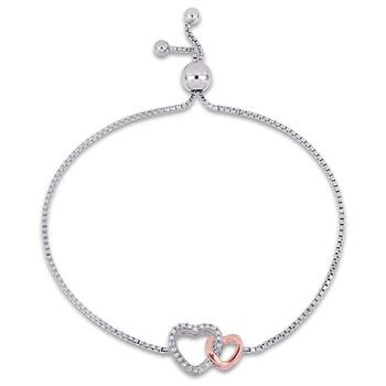 Trang sức Amour 1/10 CT TW Kim cương Adjustable Vòng đeo tay 2-tone Rose và White Bạc 925 JMS004860 chính hãng sale giá rẻ Hà nội TPHCM