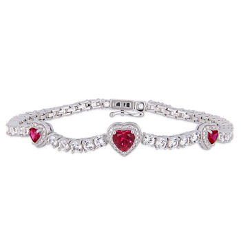 Trang sức Amour 8-2/5 CT TGW Created Ruby và Created White Sapphire Stationed Triple Halo Heart Tennis Vòng đeo tay Bạc 925 JMS005224 chính hãng sale giá rẻ Hà nội TPHCM