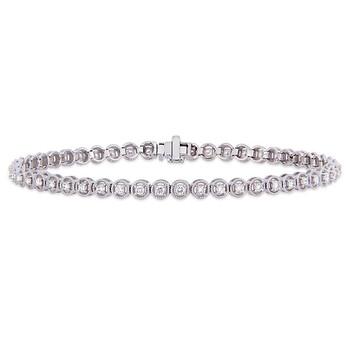 Trang sức Amour 1 CT TW Kim cương Tennis Vòng đeo tay Vàng trắng 14K JMS005242 chính hãng sale giá rẻ Hà nội TPHCM