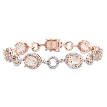 trang sức Amour 1.54 CT Kim cương TW và 11 3/4 CT TGW Morganite Vòng đeo tay Vàng hồng 14K GH SI Length (inches): 7 chính hãng sale giá rẻ tại Hà nội TPHCM
