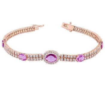 Trang sức Amour 2 7/8 CT Kim cương TW và 3 1/3 CT TGW Pink Sapphire - CN Vòng đeo tay Vàng 14K Pink GH SI Length (inches): 7 chính hãng sale giá rẻ Hà nội TPHCM