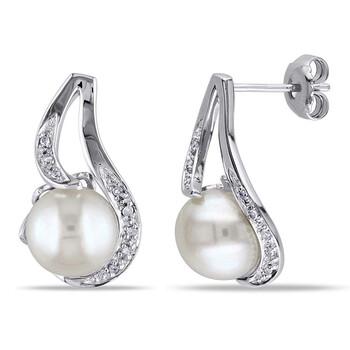Trang sức Amour 0.06 CT Kim cương TW 9 - 9.5 MM White Freshwater Pearl Bông tai (khuyên tai