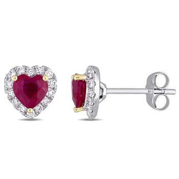 Trang sức Amour Hình trái tim Ruby và 1/3 CT TW Kim cương Halo Stud Bông tai (khuyên tai