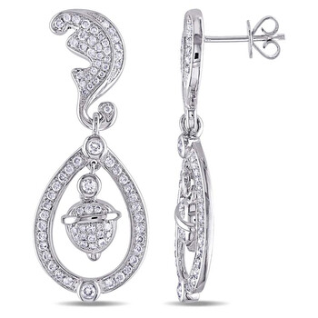 Trang sức Amour 1 1/4 CT Kim cương TW Ear Pin Bông tai (khuyên tai, hoa tai) Vàng trắng 14K GH SI JMS005428 chính hãng sale giảm giá sỉ rẻ nhất ở Hà nội TPHCM