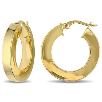 Trang sức Amour Vàng 10K Square Band Hoop Bông tai (khuyên tai