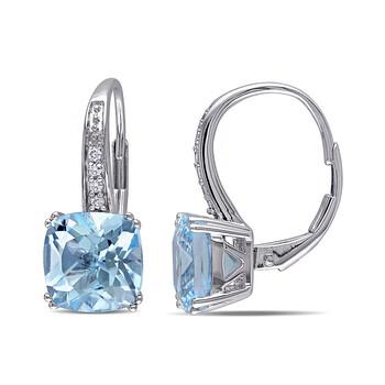 Trang sức Amour 0.06 CT Kim cương TW và 5 CT TGW Blue Topaz - Sky LeverBack Bông tai (khuyên tai