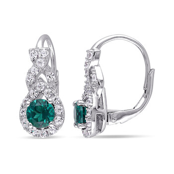 Trang sức Amour 1 3/4 CT TGWCreated Sapphire Created Emerald LeverBack Bông tai (khuyên tai